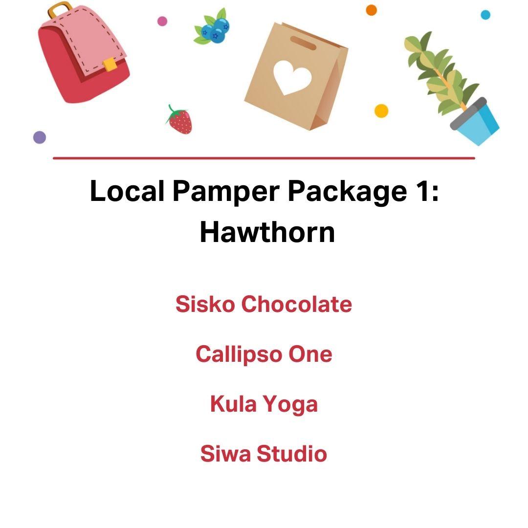 Local pamper package 1: Hawthorn, Sisko Chocolate, Callipso One, Kula Yog,a Siwa Studio