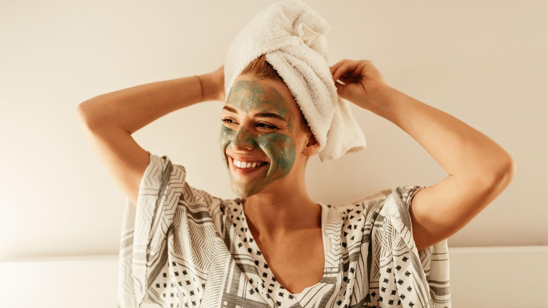 Happy customer enjoying beauty treatment.